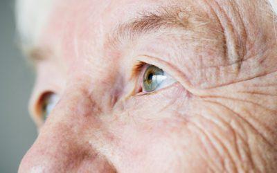 Closeup side portrait of white elderly woman's eyes